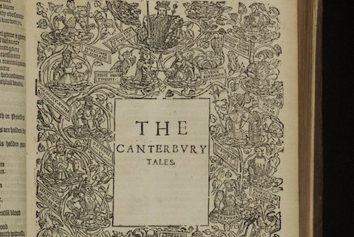 "Title page of The Canterbury Tales, in ""The workes of our antient and learned English poet, Geffrey Chaucer"", 1598"